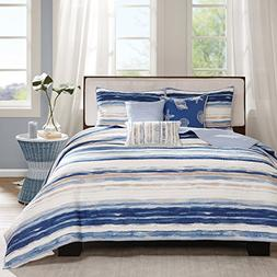 Fairbanks Beach Striped Quilted Coverlet Set  Blue - 6pc