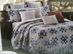 Farmhouse Blue Star Carolina Star 3 pc. Queen Quilt Set Cott