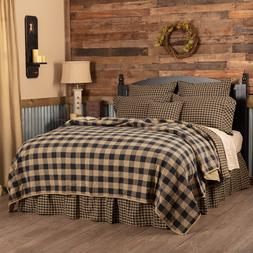 FARMHOUSE COUNTRY PRIMITIVE RUSTIC QUILTED BLACK TAN CHECK B