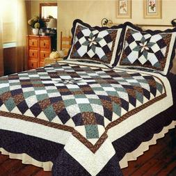 Farmhouse Star 5pc KING Primitive Country Quilted Bedding Pa
