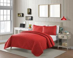 Fashionable Solid Color Diamond Pinsonic Microfiber Quilt Se