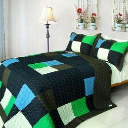 Fatal Attraction-2 Cotton Vermicelli-Quilted Patchwork Plaid