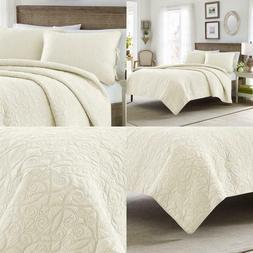 Felicity 3-Piece Ivory Floral Cotton King Quilt Set