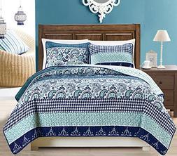 Grand Linen 3-Piece Fine printed Oversize Quilt Set Reversib