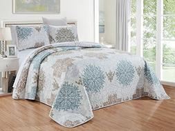 GrandLinen 3-Piece Fine printed Oversize  Quilt Set Reversib