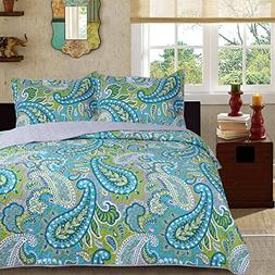 3-Piece Fine printed Quilt Set  KING SIZE Bedspread Coverlet