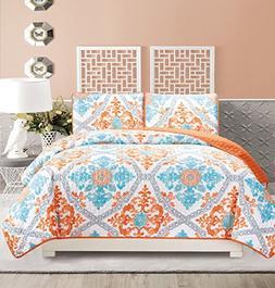 3-Piece Fine printed Quilt Set Reversible Bedspread Coverlet