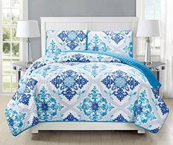 GrandLinen 3-Piece Fine printed Quilt Set Reversible Bedspre