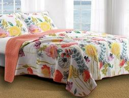 GREENLAND HOME FINELY STITCHED COTTON QUILT SET WATERCOLOR D