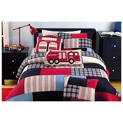 3 Piece Fireman Color Quilt Set, This Fireman Bedding Collec