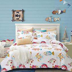 Fishes Duvet Cover Set, 100% Cotton Bedding, Tropical Ocean