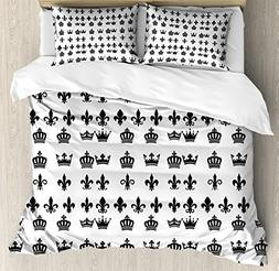 Lunarable Fleur de Lis Duvet Cover Set Queen Size, Various C