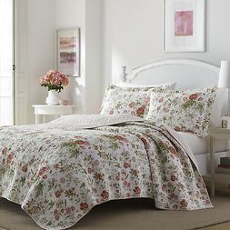 Laura Ashley Floral 3-Piece Quilt Set, Cotton, Twin/Full/Que