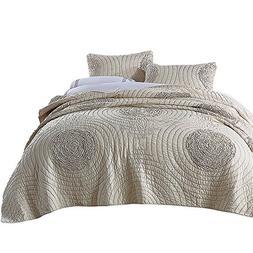 NEWLAKE Floral Bedspread Quilt Sets-Cotton Patchwork Coverle