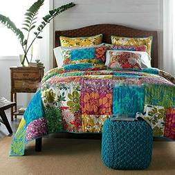 Tache 100% Cotton 3 Piece Colorful Flower Power Party Patchw