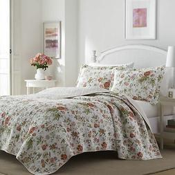 3-PC Full-Queen Pink Green Rose Floral Cotton Quilt Set Laur