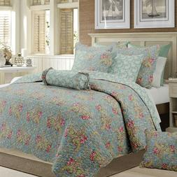 Floral Paisley Reversible Cotton Quilt Set, Bedspreads, Cove