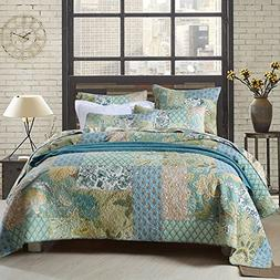 ON SALE Floral Patchwork Cotton Quilt Coverlet Set King Flow