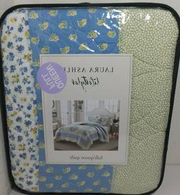LAURA ASHLEY Floral Patchwork QUEEN QUILT Yellow Blue White