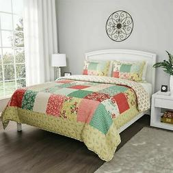 Floral Patchwork Sweet Dreams Quilt Set Bedspread Quilted Bl