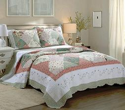 Cozy Line Home Fashions Floral Patchwork Tiffany Green Pink