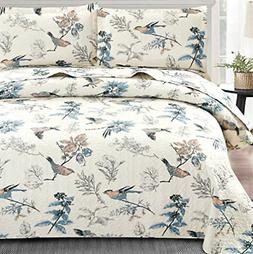 Floral Quilt Set Twin Size Bird Gray Leaf Floral Print Bedsp