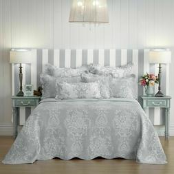 Florence Bedspread Set Grey by Bianca | Features a scalloped