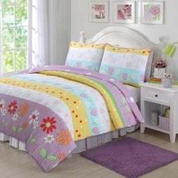 Flower Garden Reversible Girl Quilt Set, Bedspread, Coverlet
