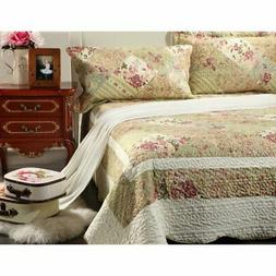 Forest Cottage 3 Piece Patchwork Reversible Quilt Set by Tac
