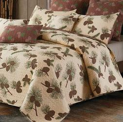 FOREST PINES 3pc King QUILT SET : LODGE PINECONE CABIN BROWN