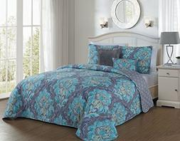 Avondale Manor Forte 5 Piece Quilt Set, Queen, Teal
