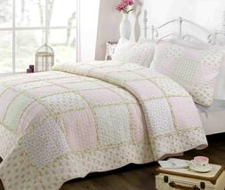 Forville Pink&Coral Real Patchwork 100%Cotton Quilt Set, Bed