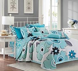 Virah Bella Francesca 3 Piece Aqua and White Quilt and Sham