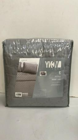 Vcny Home Full/Queen 3 Piece Quilt Set Maxwell Grey FREE SHI