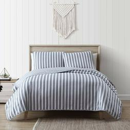 Full/Queen or King 3-Piece Ticking Stripe Quilt and Sham Bed