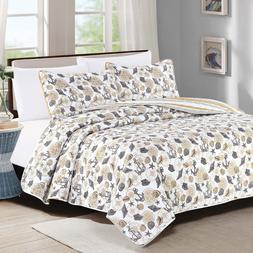 Full/Queen or King Quilt Set Coastal Anchor Seashell Coverle