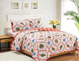 Full/Queen or King Quilt Set Coastal Starfish Seashell Coral