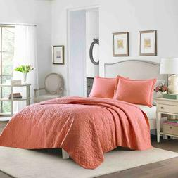 ❤️ LAURA ASHLEY FULL QUEEN Quilt & SHAMS set CORAL ORANG