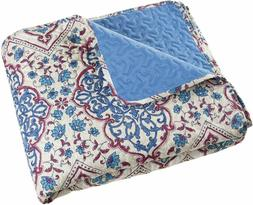 Full/Queen Quilt Bed Set, 3 Piece Reversible Microfiber Quil