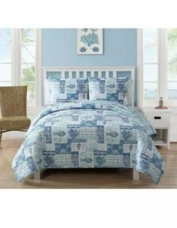 VCNY Home Full/Queen Reversible Blue Patchwork Sealife 3pc Q
