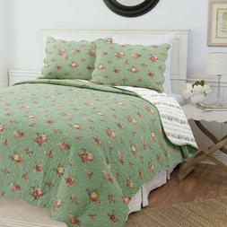 Gabriella Green Reversible Cotton Quilt Set, Bedspread, Cove