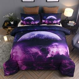 Galaxy Comforter Set, Queen Size Moon Sea Lightning Printed