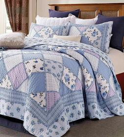 GARDEN of BLUES 3p King ** QUILT SET : COUNTRY COTTAGE RUFFL