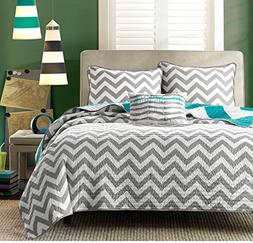 4 Piece Girls Aqua Light Blue Chevron Full Queen Quilt Set,