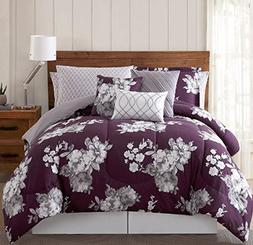 UKN 12pc Girls Purple Floral Comforter King Set, Pretty Gray