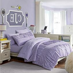 5 Piece Girls Purple Solid Ruched Striped Pattern Comforter