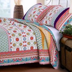 Greenland Home GL-1606AMSK Thalia King Quilt Set- 3-Piece- M