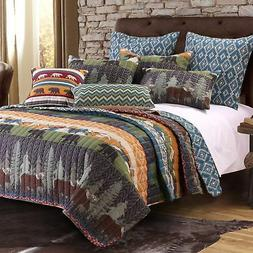 Greenland Home GL-1608EMST Black Bear Lodge Quilt Set, Twin