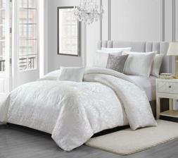 Gloria 5-Piece White Floral Textured Jacquard Comforter or C