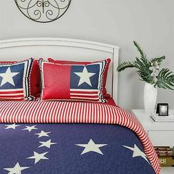 Glory American Flag Star Print Quilt Set Bedspread Quilted B